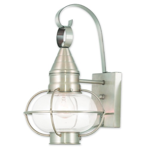 Livex Lighting Livex Lighting Newburyport Brushed Nickel Outdoor Wall Light 26901-91