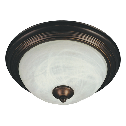 Maxim Lighting Flushmount Light with White Glass in Oil Rubbed Bronze Finish 85840MROI