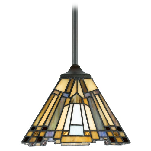 Quoizel Lighting Mini-Pendant Light with Multi-Color Glass TFIK1508VA