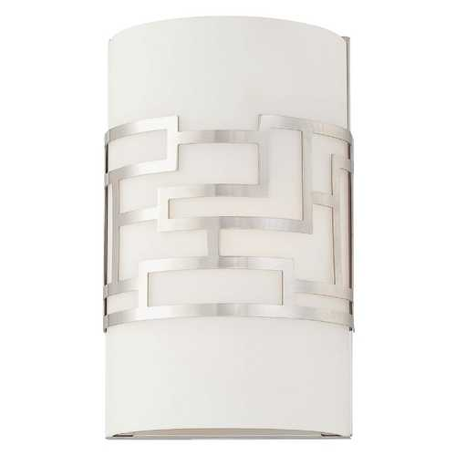 George Kovacs Lighting Modern Sconce with White Glass Shade in Brushed Nickel Finish P195-084