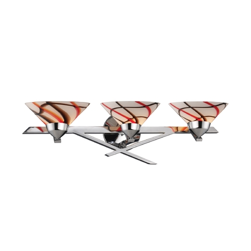 Elk Lighting Modern Art Glass Bathroom Light Chrome Refraction by Elk Lighting 1472/3CRW
