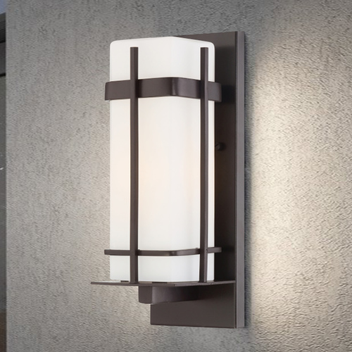 Minka Lavery Outdoor Wall Light with White Glass in Dorian Bronze Finish 72352-615B-PL