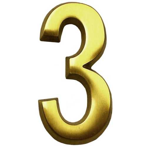 Satin Brass Four Inch House Number Gm Cb3