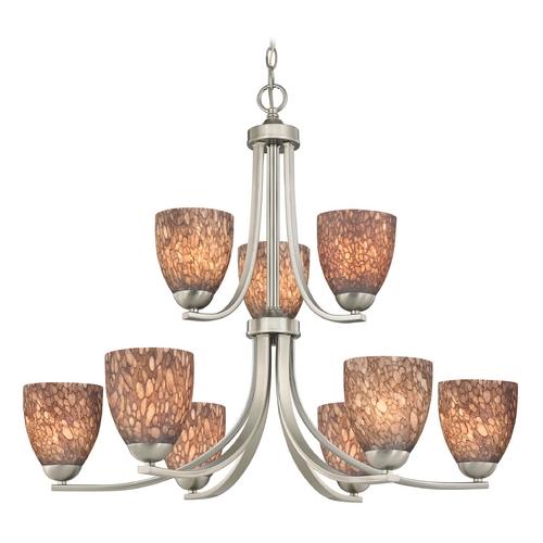 Design Classics Lighting Modern Chandelier with Brown Art Glass in Satin Nickel Finish 586-09 GL1016MB