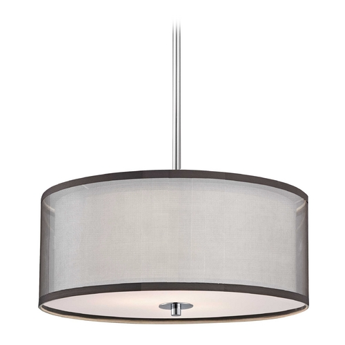 Design Classics Lighting Double Drum Chrome Pendant Light - 22-Inches Wide DCL 6528-26 SH7614  KIT