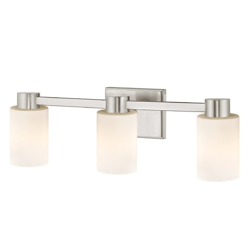 Design Classics Lighting 3-Light Shiny White Glass Bathroom Vanity Light Satin Nickel 2103-09 GL1024C