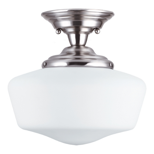 Sea Gull Lighting Schoolhouse Semi-Flushmount Light with White Glass in Brushed Nickel Finish 77437-962