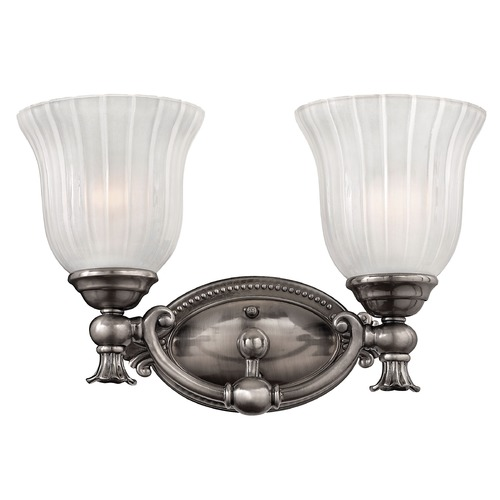 Hinkley Lighting Bathroom Light with White Glass in Polished Antique Nickel Finish 5582PL