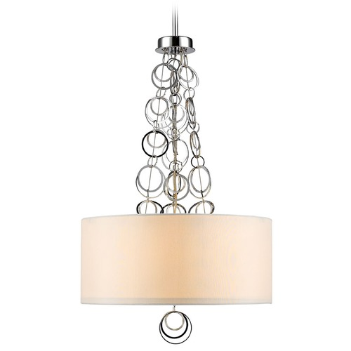 Golden Lighting Golden Lighting Danica Chrome Pendant Light with Drum Shade 5050-3P CH