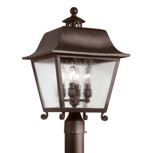 Troy Lighting Post Light with Clear Glass in Natural Bronze Finish P9445NB