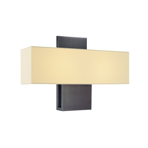 Sonneman Lighting Modern Sconce Wall Light with White Shades in Rubbed Bronze Finish 1861.24