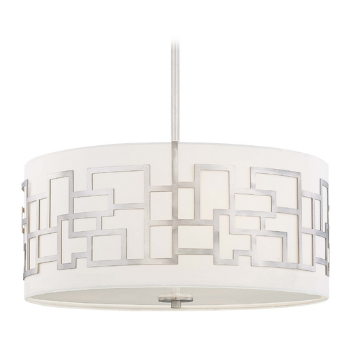 George Kovacs Lighting Modern Drum Pendant Light with White Glass in Brushed Nickel Finish P194-084