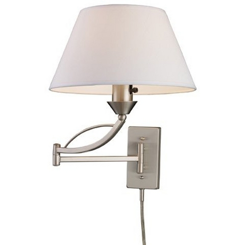 Elk Lighting Modern Swing Arm Lamp with White Shade in Satin Nickel Finish 17016/1