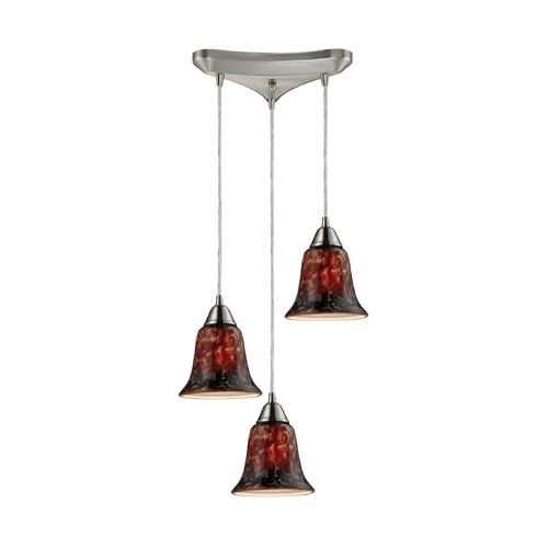 Elk Lighting Modern Multi-Light Pendant Light with Multi-Color Glass and 3-Lights 31130/3FDG