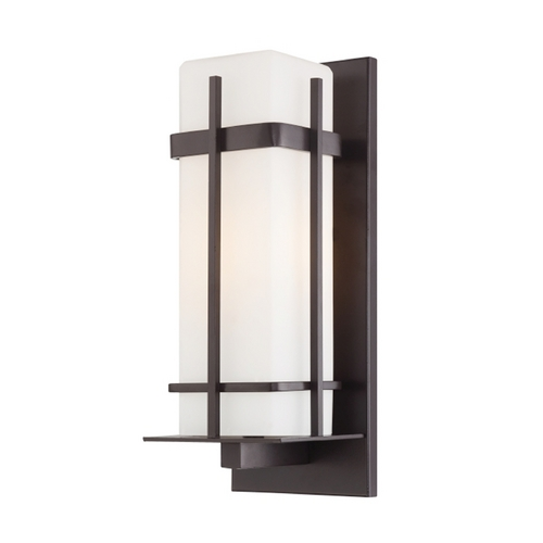 Minka Lavery Outdoor Wall Light with White Glass in Dorian Bronze Finish 72353-615B-PL