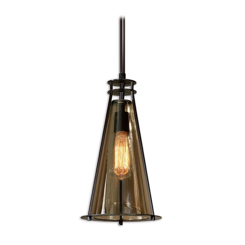 Uttermost Lighting Mini-Pendant Light with Brown Glass 21965