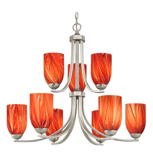 Design Classics Lighting Modern Chandelier with Red Glass in Satin Nickel Finish 586-09 GL1017D