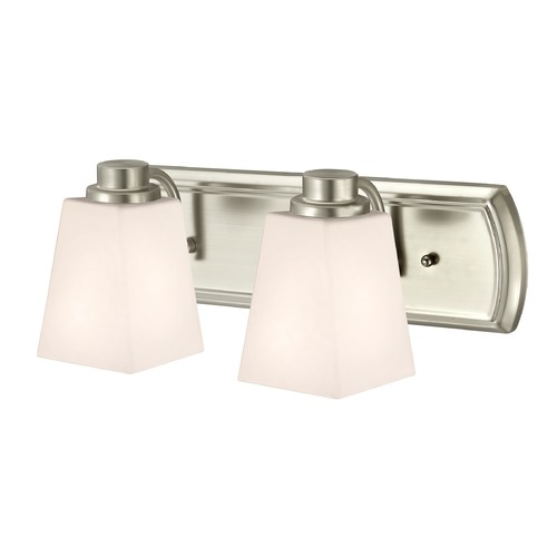 Design Classics Lighting 2-Light Vanity Light in Satin Nickel and Square White Glass 1202-09 GL1057