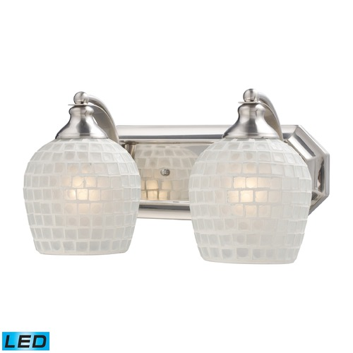 Elk Lighting Elk Lighting Bath and Spa Satin Nickel LED Bathroom Light 570-2N-WHT-LED