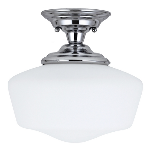 Sea Gull Lighting Schoolhouse Semi-Flushmount Light with White Glass in Chrome Finish 77437BLE-05