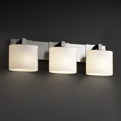 Justice Design Group Justice Design Group Fusion Collection Bathroom Light FSN-8923-30-OPAL-NCKL