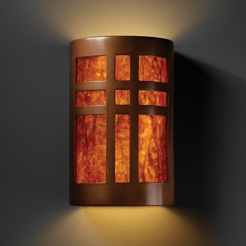 Justice Design Group Sconce Wall Light with White in Antique Copper Finish CER-7295-ANTC