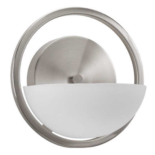 Progress Lighting Modern Sconce Wall Light with White Glass in Brushed Nickel Finish P2033-09