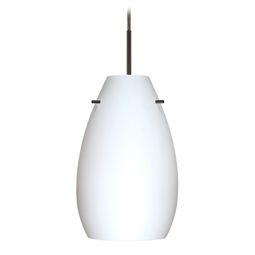 Besa Lighting Besa Lighting Pera Bronze LED Mini-Pendant Light with Oblong Shade 1JT-412607-LED-BR