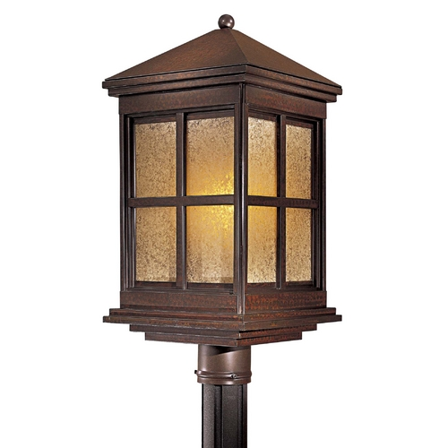 Minka Lavery Post Light with Beige / Cream Glass in Rust Finish 8566-51-PL