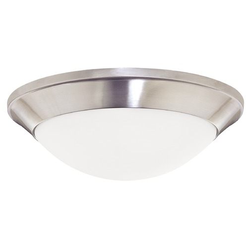 Dolan Designs Lighting Modern Flushmount Light with White Glass in Satin Nickel Finish 5401-09