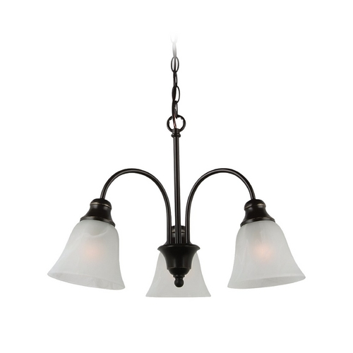 Sea Gull Lighting Mini-Chandelier with Alabaster Glass in Heirloom Bronze Finish 35949BLE-782