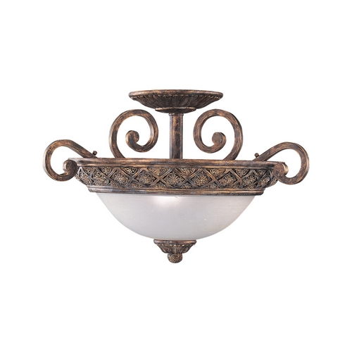 Sea Gull Lighting Semi-Flushmount Light with White Glass in Regal Bronze Finish 75251-758