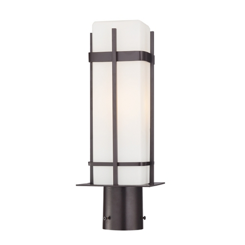 Minka Lavery Post Light with White Glass in Dorian Bronze Finish 72356-615B-PL