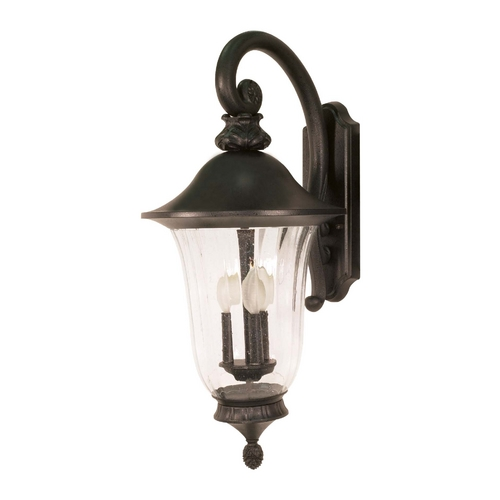 Nuvo Lighting Outdoor Wall Light with Clear Glass in Textured Black Finish 60/980