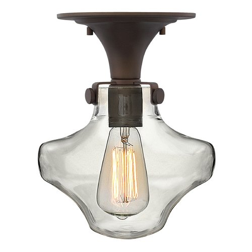 Hinkley Lighting Semi-Flushmount Light with Clear Glass in Oil Rubbed Bronze Finish 3150OZ