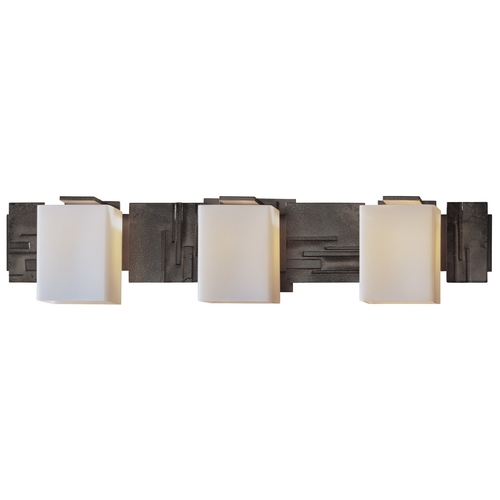 Hubbardton Forge Lighting Bathroom Light with White Glass in Dark Smoke Finish 207843-SKT-07-GG0108