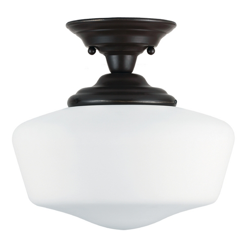 Sea Gull Lighting Schoolhouse Semi-Flushmount Light with White Glass in Heirloom Bronze Finish 77437BLE-782