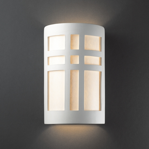 Justice Design Group Sconce Wall Light with White in Bisque Finish CER-7295-BIS
