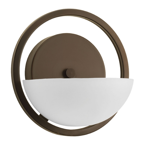 Progress Lighting Modern Sconce Wall Light with White Glass in Antique Bronze Finish P2033-20
