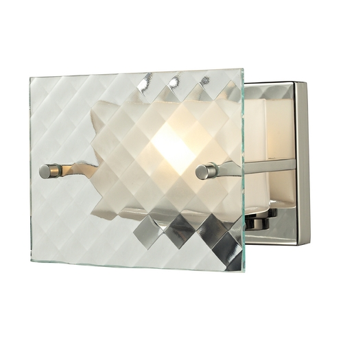 Elk Lighting Modern Sconce Wall Light with White Glass in Brushed Nickel Finish 31415/1