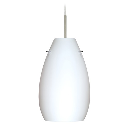 Besa Lighting Besa Lighting Pera Satin Nickel LED Mini-Pendant Light with Oblong Shade 1JT-412607-LED-SN