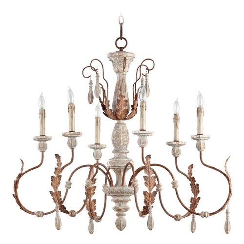 Quorum Lighting Quorum Lighting La Maison Manchester Grey W/ Rust Accents Chandelier 6152-6-56