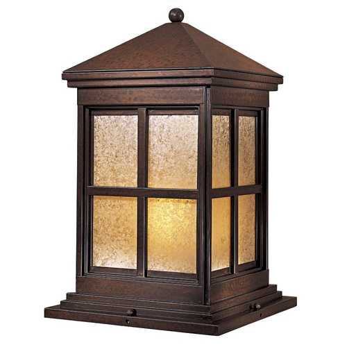 Minka Lavery Post Light with Beige / Cream Glass in Rust Finish 8567-51-PL