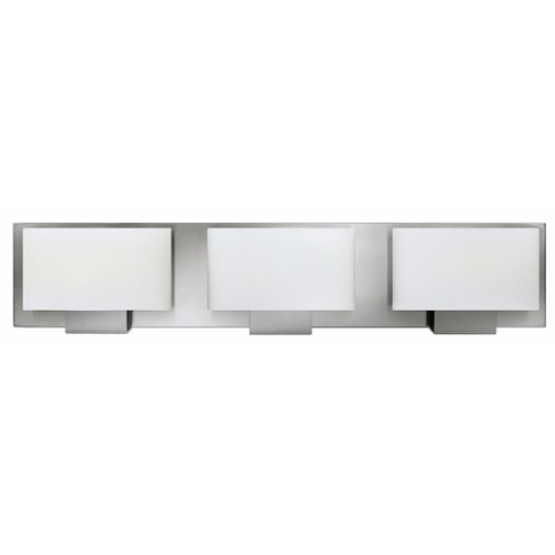 Hinkley Lighting Brushed Nickel Mila Bathroom Light with White Shades 53553BN