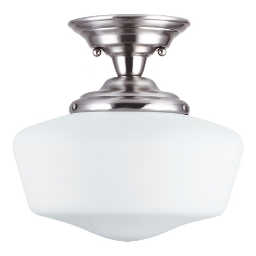 Sea Gull Lighting Schoolhouse Semi-Flushmount Light with White Glass in Brushed Nickel Finish 77437BLE-962