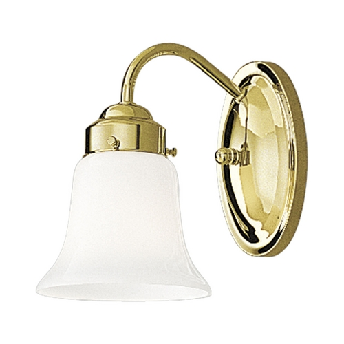 Progress Lighting Progress Sconce Wall Light with White Glass in Polished Brass Finish P3373-10