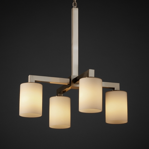 Justice Design Group Justice Design Group Fusion Collection Mini-Chandelier FSN-8920-10-OPAL-NCKL