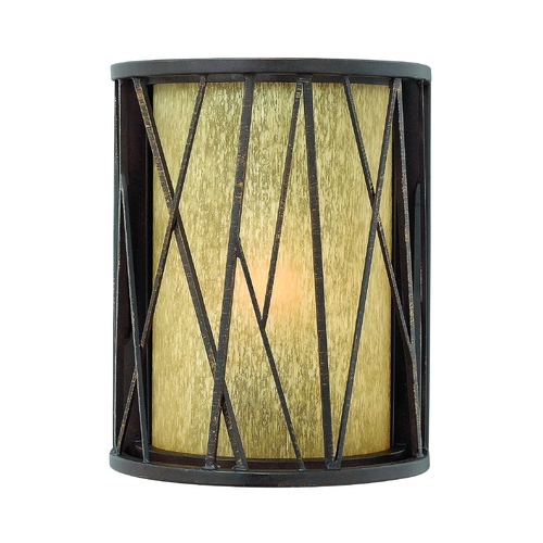 Hinkley Lighting LED Outdoor Wall Light with Amber Glass in Regency Bronze Finish 1150RB-LED