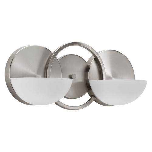 Progress Lighting Modern Bathroom Light with White Glass in Brushed Nickel Finish P2034-09