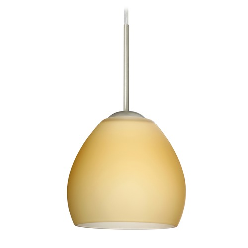 Besa Lighting Besa Lighting Bolla Satin Nickel LED Mini-Pendant Light with Bell Shade 1BT-4122VM-LED-SN
